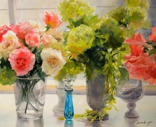 透明水彩で花を描く