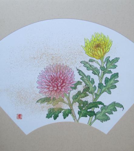扇面色紙に「菊」を描く~日本画体験