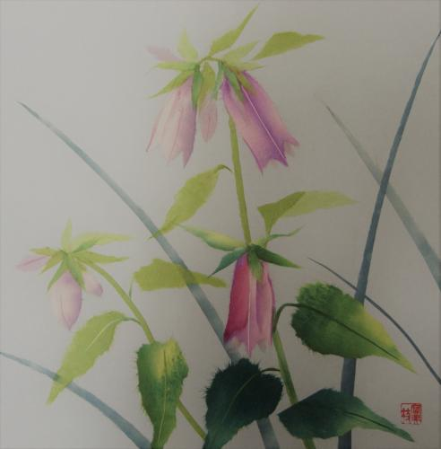 手すき和紙で描くホタルブクロの色紙