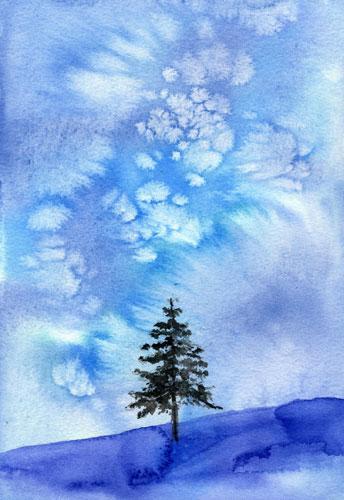 水彩色鉛筆で描くクリスマスツリー1日教室