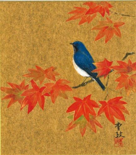 鮮やかに色づく「紅葉」を描く