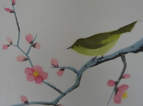手すき和紙で描く「梅とうぐいす」の色紙