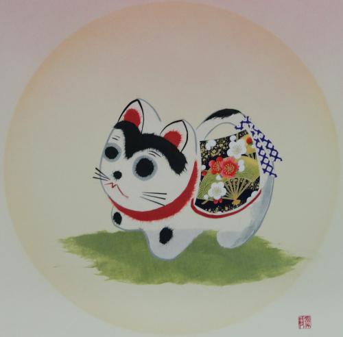 手すき和紙で描く干支「戌」の色紙