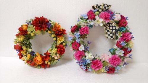 アーティフィシャルフラワーで作る 花と実のデザインリース