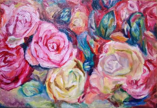 ルノワールのバラを描く