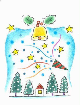 色鉛筆で描く イラストのクリスマスカードと年賀状