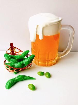 食品サンプルづくり 生ビールと枝豆