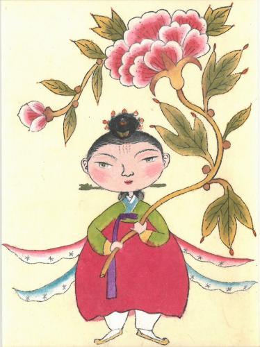 韓国民画体験・仙女を描く