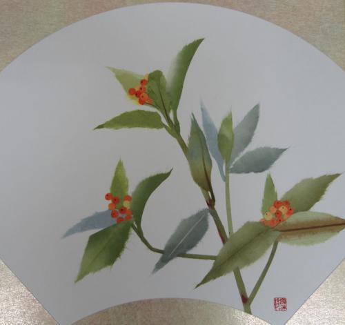 手すき和紙で描く「千両」の色紙