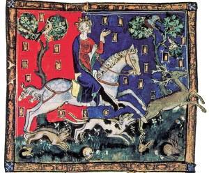 騎乗する国王ジョンが鹿狩りをしている様子。(大英図書館蔵)