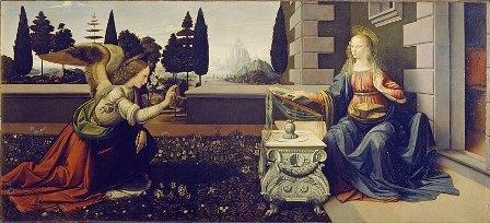 「受胎告知」1472年頃 (ウフィツィ美術館)