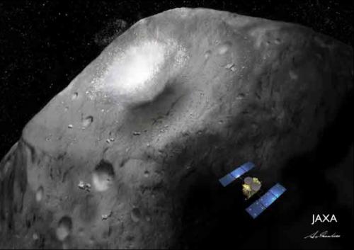 リュウグウ上で宇宙衝突実験を実施する「はやぶさ2」(イラスト:池下章裕)