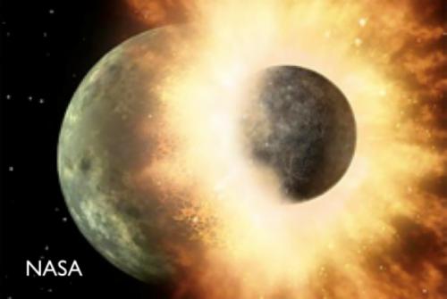原始惑星同士の巨大衝突(イメージ図・NASA))