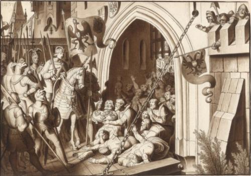ウィーンに凱旋する皇帝ルドルフ1世 カール・ルース画、1820-30年代