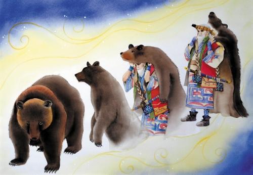 熊に仮装するカムイ(神)(黒瀬久子画・旭川市博物館)