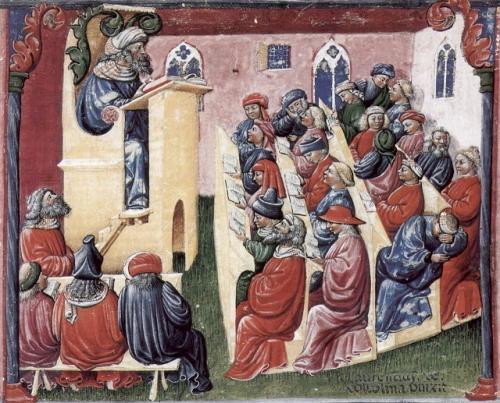 ボローニャ大学の授業風景(14世紀半ば)