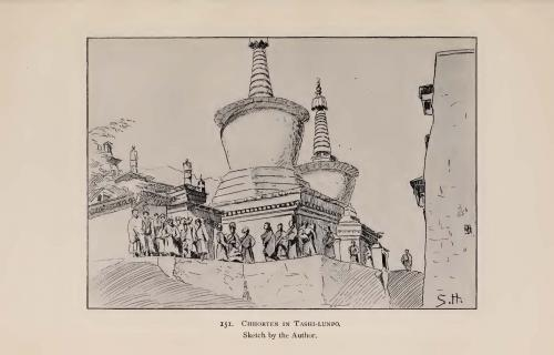 ヘディンが描いたタシルンポ寺境内の仏塔