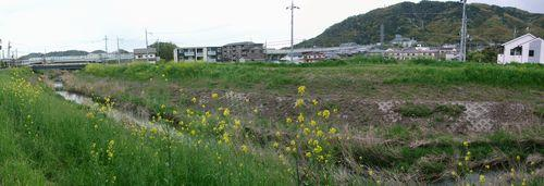 山崎古戦場跡(手前は小泉川、右奥は天王山)
