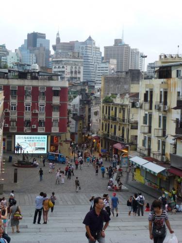 世界遺産マカオ。聖パウロ天主堂から旧市街を見下ろす。
