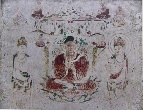 法隆寺金堂の阿弥陀浄土図(焼損前)