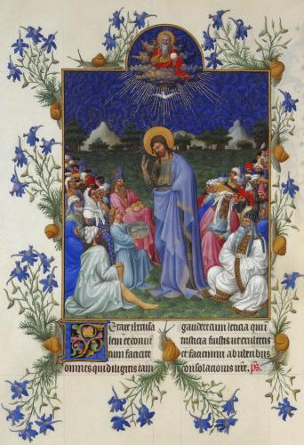 ランブール兄弟 《ベリー公のいとも豪華なる時禱書》 「パンと魚の奇跡」 1416年以前