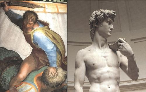 ミケランジェロの<ダヴィデ>彫刻と絵画