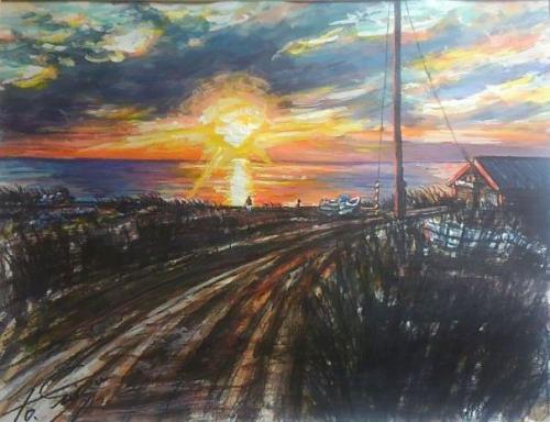 オホーツク海に沈む夕日
