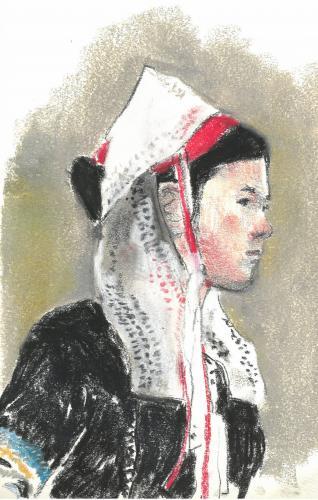 講師習作ブルターニュ民族衣装の女