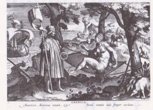 アメリゴとアメリカの出会い(ヨハンネス=ストラダヌス、1600年頃