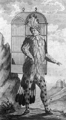 モーツァルト『魔笛』の登場人物パパゲーノのイラスト