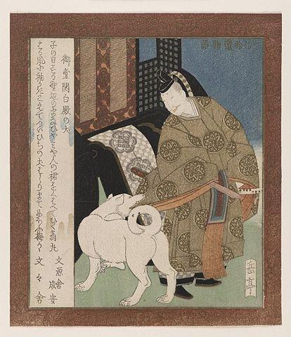 『宇治拾遺物語』より「御堂関白殿の犬」岳亭春信画