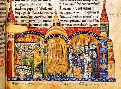 クリュニー修道院の祭壇を聖別する教皇ウルバヌス2世(フランス国立図書館所蔵)