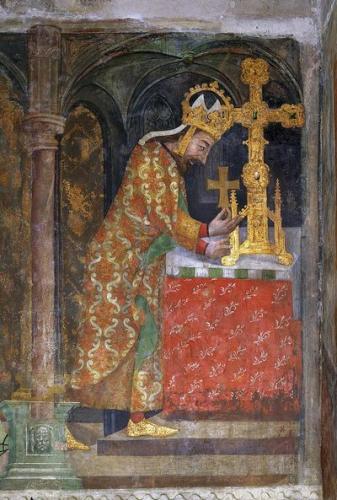 神聖ローマ皇帝カール4世、カレルシュタイン城壁画より、14世紀半ば