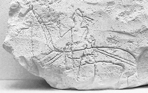 ドン川下流域、ハザルに属していたと思われるマヤーキ城塞址出土、レンガに刻まれた騎士像。8~9世紀。エルミタージュ蔵(林撮影)