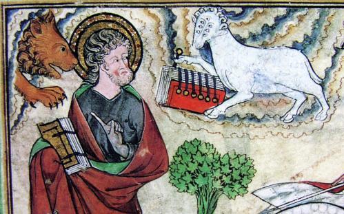 小羊が第一の封印を解く(《ドゥース黙示録》より 1270-75年頃 イギリス、オックスフォード、ボードリアン図書館所蔵)