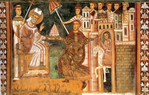 教皇にローマの支配権を委ねるコンスタンティヌス帝
