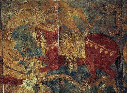 ペンジケント遺跡(タジキスタン)で発見されたルスタムの悪魔退治のシーン