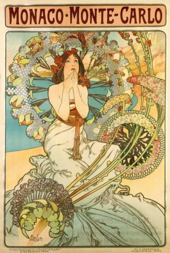 アルフォンス・ミュシャ 《モナコ・モンテカルロ》 1897年、多色刷り石版画、74.5x108cm