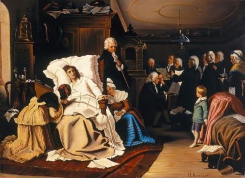 死の床で『レクイエム』の試演をおこなうモーツァルトの想像図 1873年