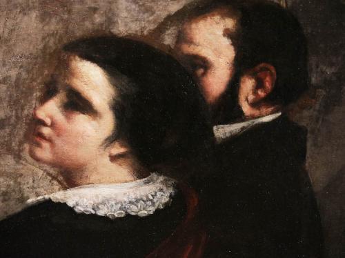 クールベ「画家のアトリエ」一部