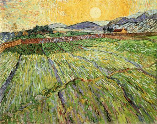 《囲まれた麦畑と日の出》