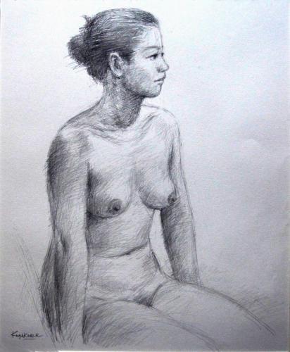 講師作品 裸婦(素描)