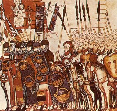 キリスト教徒とイスラム教徒の戦闘を描いた写本(王立エル・エスコリアル修道院所蔵)