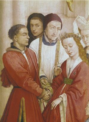 「中世の結婚」、ロヒール・ファン・デル・ウェイデン≪七つの秘蹟≫(部分、1445年頃)