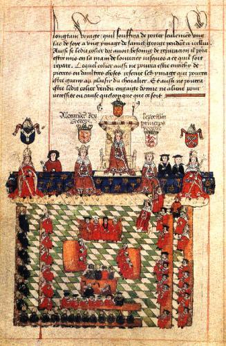 議会を主宰するイングランド王エドワード1世(1278年頃)
