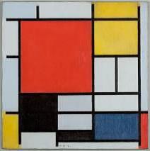 モンドリアン 《大きな赤の色面、黄、黒、灰、青色のコンポジション》 1921年 デン・ハーグ美術館