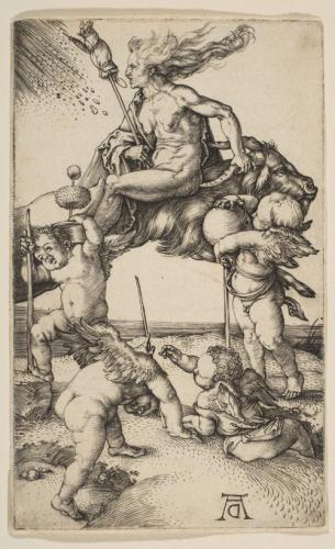 デューラー「山羊に後ろ向きに騎乗する魔女」1500年頃