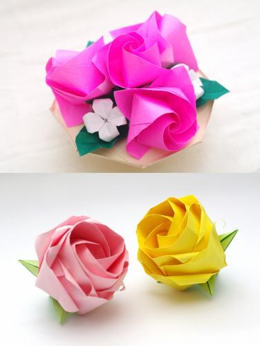「バラ(U10-4)のテーブルフラワー・ねじり折りのバラ(N3,N4原理モデル)」」