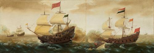 スペインのガレオン船とオランダの軍艦(画・コルネリス・ヴェルベック)