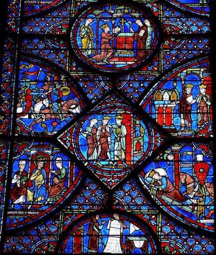シャルトル大聖堂ステンドグラス(「シャルルマーニュの生涯」)、13世紀初頭
